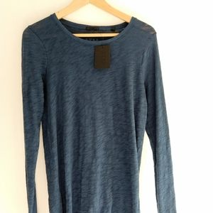 ATM Cotton Long Sleeve Textured Tee Deep Ocean